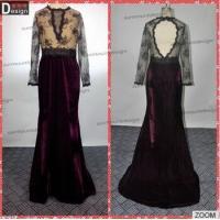Surmount Real Sample New Beautiful Lace Top Keyhole Back Long Sleeve Velvet Evening Dresses From Dubai