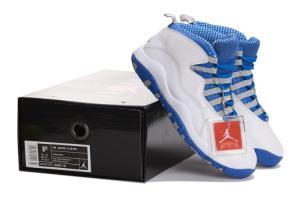Nike Air Jordan 10 Retro White/Old Royal-Stealth Grey sports shoes 666