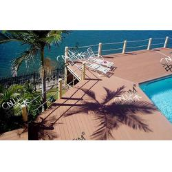 China Solid Hollow WPC Decking Flooring Recyclable For Pool And Seaside on sale