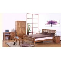 European Style Pine Solid Wood Bedroom Furniture Sets King Size High Grade