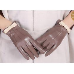 China Bowknot Cuff Sheep Leather Ladies Wearing Leather Gloves , Women's Hand Gloves on sale