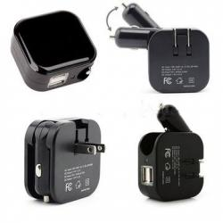 China 2 In 1 USB Wall Car Charger Combo , Folding Plug USB Car Travel Charger on sale