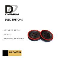 Fashion Polyester Bulk Clothing Buttons Black & Red Trims Solution