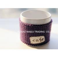 Cafe logo purple embroidery hand knitted mug warmer sleeve cup sweater
