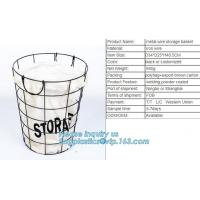 Customized Wire Diameter Stock Pot Cooking Wire Mesh Metal Storage Basket, Industrial Metal Wire Storage Basket With Han