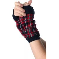 Red / Green + Black Knitted Arm Warmer , Women's Free Fingerless Gloves Knitting Patterns For Arm Warmers