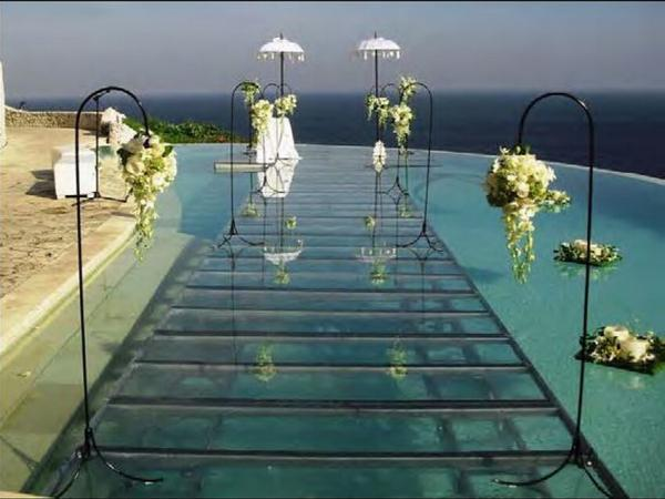 Swimming Pool Stage : Swimming pool toughened glass stage m for