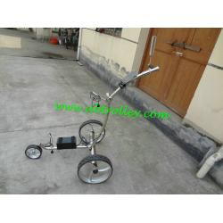 China Brilliant Stainless steel golf chariot electric golf pusher lithium operated trolleys on sale