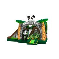 Lovely inflatable panda themed combo with double slide beside the bouncer inflatable pande cartoon in combo