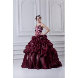 China High End Appliqued Quinceanera Party Dresses , Wine Organza Spaghetti Straps Ball Gown on sale