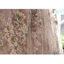 China 120cm Wide 3D Flower Lace Fabric , Polyester Bridal Metallic Gold Lace Fabric on sale