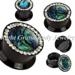 China Swarovski Stone Black Uv Acrylic Ear Flesh Tunnels With Tiger Print Logo on sale