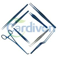 Cardiovascular Plastic Surgical Instruments (Forceps), Titanium or Stainless Steel, Tungsten Carbide Blue