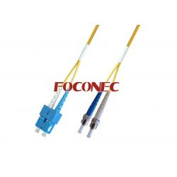 China SC to ST Single-mode Duplex Fiber Optic Patch Cord, PC or UPC Polishing on sale