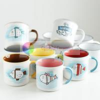 Ceramic mug set lovely imitation enamel coffee cup set  breakfast milk cup household cup