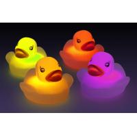 Water Sensor Activated Flash Rubber Ducky Set , Flashing Light Baby Bath Temperature Duck