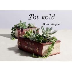China Custom Silicone Concrete Mold , Book Shaped Concrete Flower Pot Moulds DIY Cement Ornament on sale
