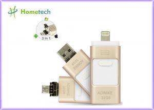 China Golden OTG Phone Metal 32GB USB Memory Stick For IPhone / PC , 1 Year Warranty supplier