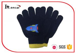 Dark Blue Kids Winter Gloves Rocket Offset Pattern Winter Proof Gloves
