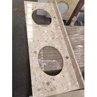 White Quartz Countertop With Aqua And Brown Flecks