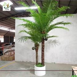 China UVG indoor bonsai artificial mini palm trees with plastic leaves for office landscaping PTR061 on sale