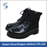 Tactical Genuine Leather Security Guard Footwear , Durable Police Uniform Boots