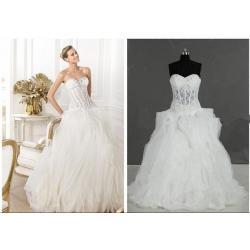China fashion wedding dress, strapless neckline, long train on sale