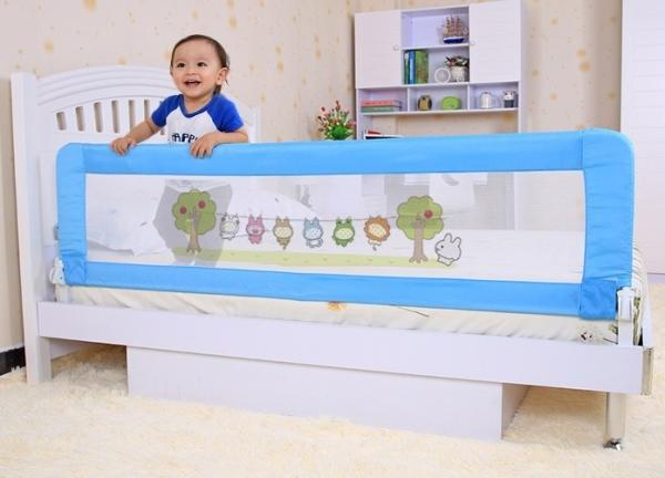 Modern Blue Toddler Bed Rail Convertible Baby Bed Guard