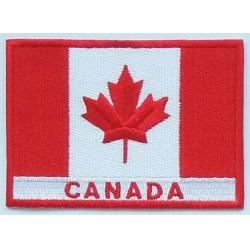 China Custom plastic backing twill 100% embroidered Canada flag patches,sew-on,8.0cm*6.0cm, two colors on sale