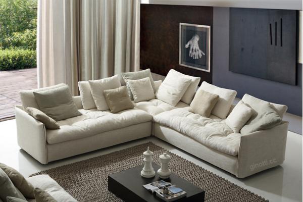 sofs modernos cmodos blancos de la tela tapizados a casa con la pluma seat en forma de l