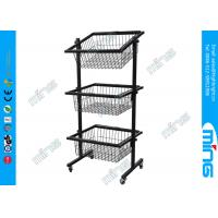Black Slanted Baskets Wire Display Stands For Retail Store Use