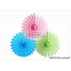 China 30cm 40cm Tissue Paper Fan Decorations Diy White Pink Blue Yellow For Party on sale