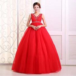 China Plus size V-neck maternity wedding dress 2014 Red Lace-up Beaded Bride Ball Gown Free Shipping on sale
