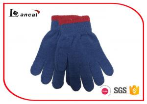 Plain Winter Hand Gloves Bicolor Ribbed Edge , Winter Sports Gloves For Boys