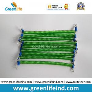 China Customized 15CM Length Green Steel Wire Safe Spring Coiled Strap Strings w/2pcs Metal Eyelets supplier