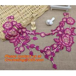 China Diy sewing accessories handmade embroidered peony Flower Patch 3D flower motif applique on sale