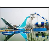 Custom Water Park Equipment Wave Slide, 11m Height Fiberglass Water Slides For 2 People