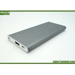 China Silver Shell External Battery Power Bank , 5000mAh USB Portable Phone Charger on sale