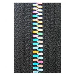 China 5# Metal Black Rainbow Teeth Zippers Polyester yarn For Clothes on sale