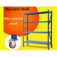Light Duty Warehouse Storage Shelves Movable Shelving Units With Universal Wheel / Brake