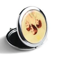 Foldable Small Handbag Mirror , Vintage Silver Compact Mirror Smooth Surface