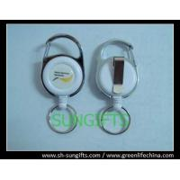 Fashion carabiner round ID badge holder with key ring and belt clip