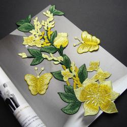 China Yellow Flower Sew On Embroidered Patches Lace Appliques For Clothing 14 X 32 CM on sale