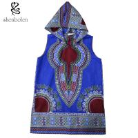 100 Percent Cotton Mens Hoodie African Print Tops Clothing Sleeveless Multi Colors