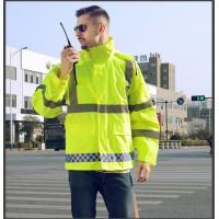 Hi vis reflective raincoat 300D oxford with PU / PVC coated heat transfer reflective tape