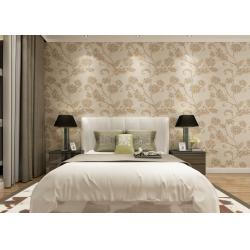China Khaki Color 3D Floral Wallpaper for Wall Decoration / PVC  Wall Coverings on sale