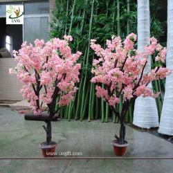 China UVG CHR043 Artificial Bonsai Tree with pink cherry flower for home garden decoration on sale