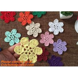China Lovely 3D Crochet Doily Clothing Accessaries Round Motif Doilies Flowers Appliques Boutiqu on sale