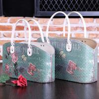 Rose Blue Pattern Candy Food Snack Gift Basket PU Leather with Handle Magazine Picnic Basket Empty Storage Basket