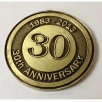 Custom metal annivesary coins, OEM antique brass plated 30th anniversary coins, MOQ300pcs